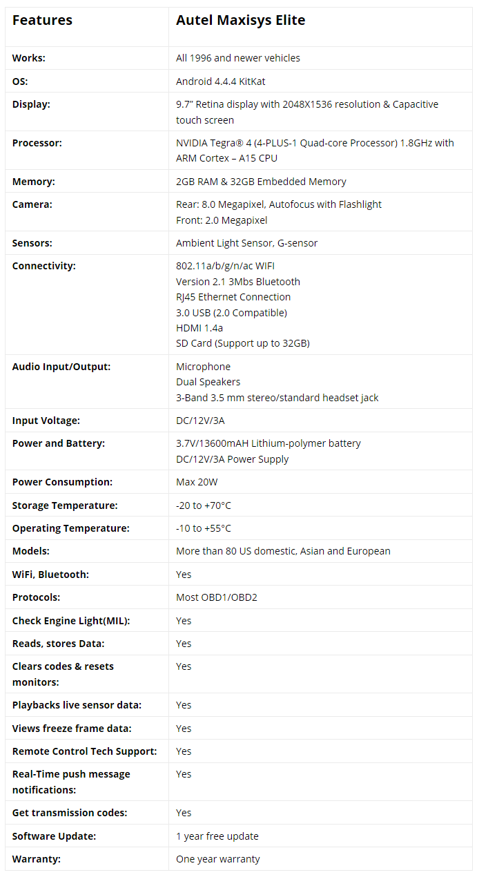 Autel-Maxisys-Elite-Technical-Specifications